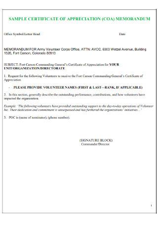 Certificate of Appreciation Memorandum Letter