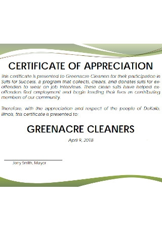 Certificate of Appreciation for Greenacre Cleaners Template