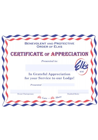 Certificate of Greatful Appreciation