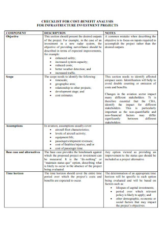 Checklist for Cost Benfit Analysis Template