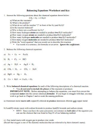 Chemical Balancing Equations Worksheet