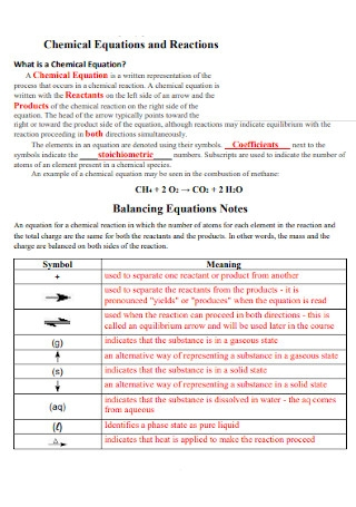 Chemical Equations and Reactions Balance Template