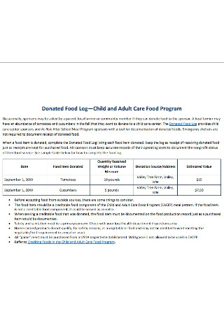 Child and Adult Care Food Program Log