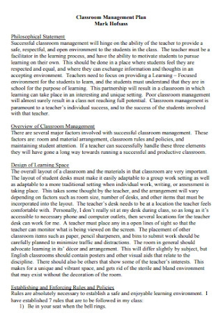 Classroom Management Philosophical Plan Statement Template