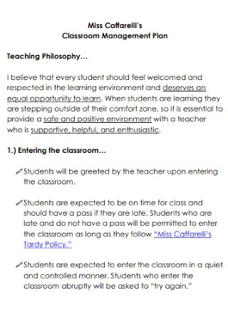 Classroom Management Plan Teaching Philosophy Template