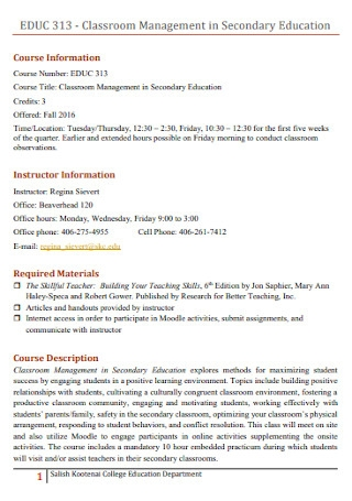 Classroom Management in Secondary Education Philosophy Template