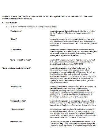 Client Business Contract