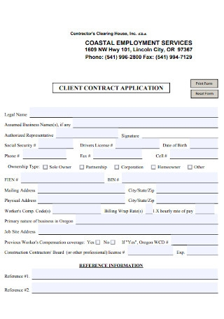 Client Contract Application Template