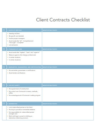 Client Contracts Checklist Template