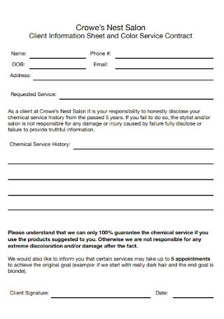 Client Information Sheet Contract