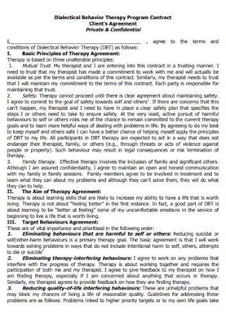 Client Therapy Program Contract