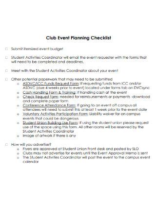 Club Event Planning Checklist