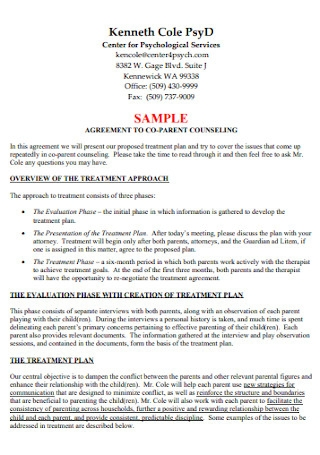 Co Parenting Counselling Agreement