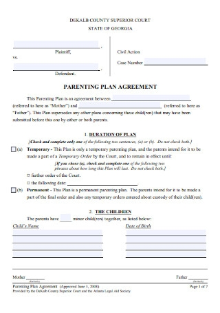 Parenting Agreement Template Free from images.sample.net