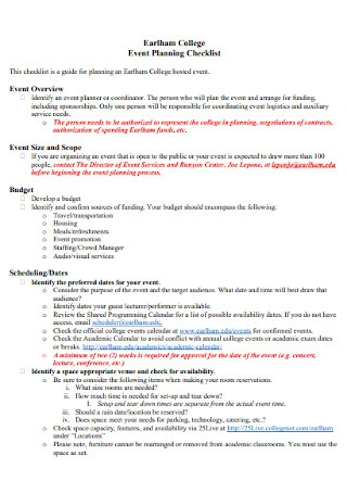 College Event Planning Checklist Example