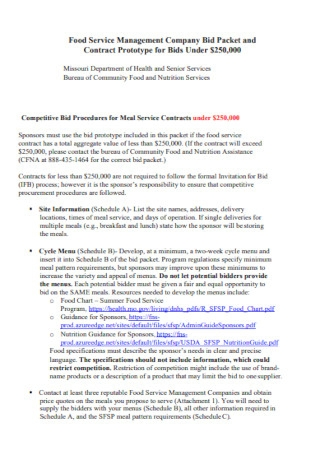 Company Food Service Management Contract