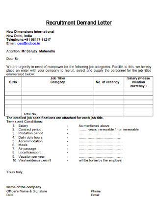 Contract Recruitment Demand Letter