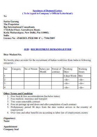 Contract Specimen of Demand Letter