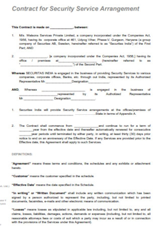 Contract for Company Security Service Arrangement