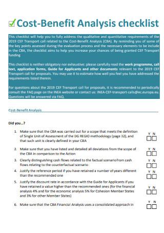 Cost Benefit Analysis Checklist