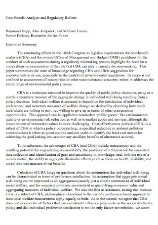 Cost Benefit Analysis and Regulatory Reform