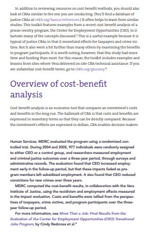 Cost Benfit Analysis and Policy Template