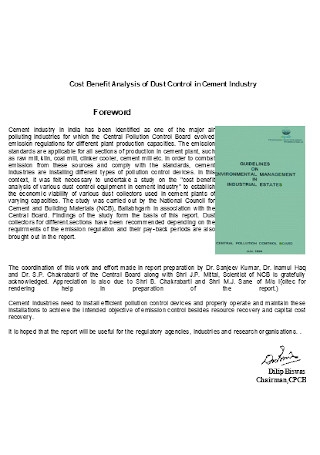 Cost Benfit Analysis of Cement Industry Template