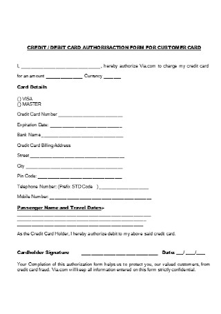 Credit Card Authorization Form for Customer Card Template