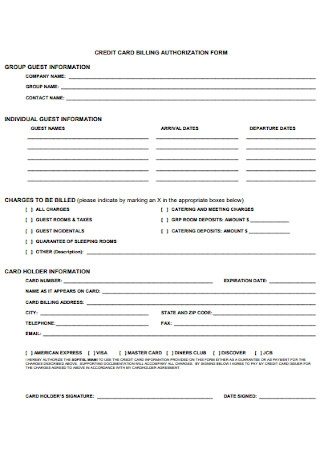 Credit Card Billing Authorization Form