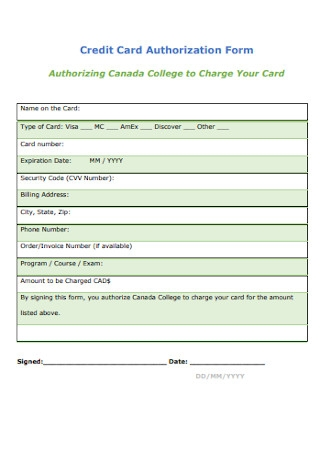 Credit Card College Authorization Form