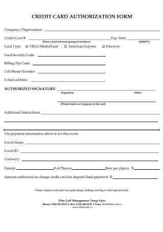 Credit Card Company Authorization Form