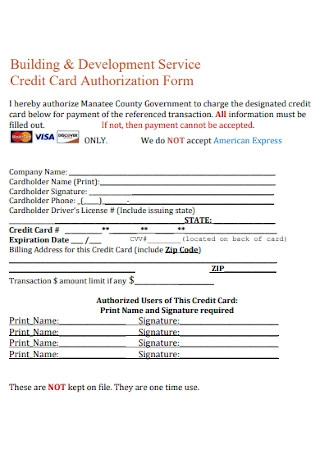 Credit Card Development Service Authorization Form
