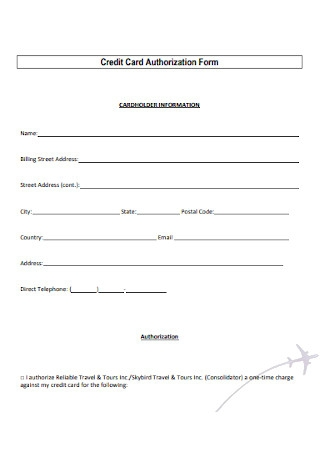 Credit Card Holder Authorization Form