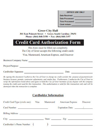 Credit Card Office Authorization Form