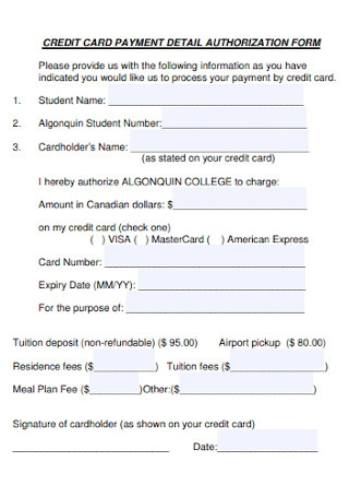 Credit Card Payment Detail Authorization Form