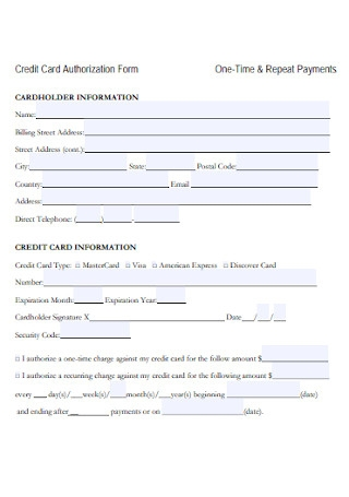 Credit Card Repeat Payments Authorization Form