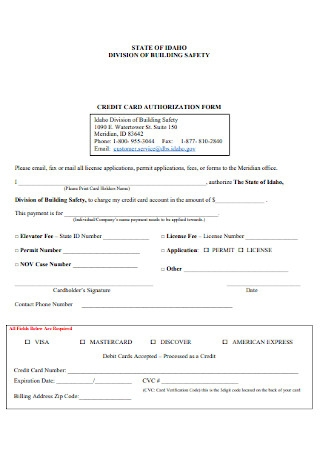 Credit Card Safety Authorization Form