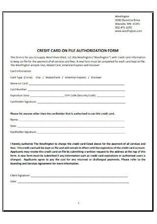 Credit Card on FIle Authorization Form