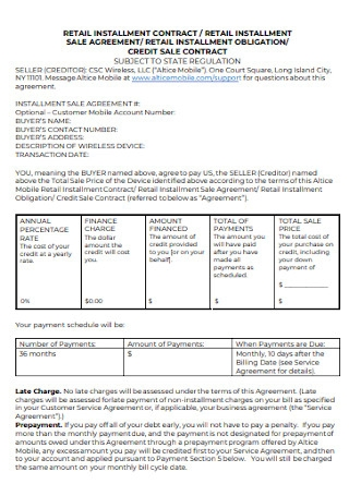 Credit Installment Sale Contract Template
