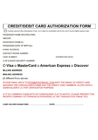 Credit and Debit Card Authorization fORM