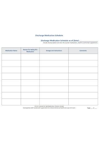 17 Sample Medication Schedule Templates In Pdf Ms Word