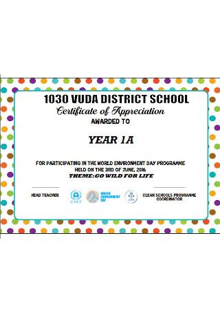 Distric School Certificate of Appreciation