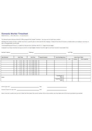 Domestic Worker Timesheet