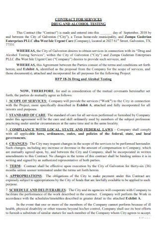 Durg and Alcohol Company Contract Template
