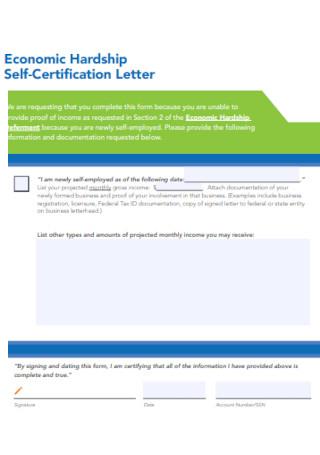 Economic Hardship Self Certification Letter