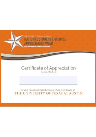 Employee Certificate of Appreciation Template