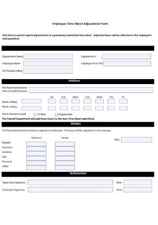 Employee Time Sheet Adjustment Form