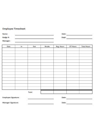 Employee Timesheet Timesheet