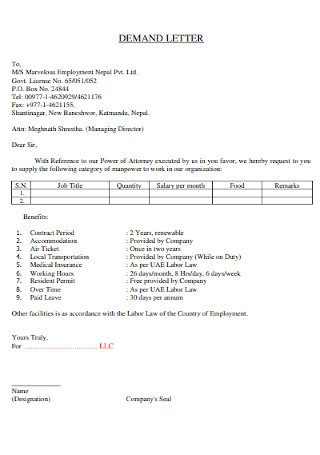 Employment Contract Demand Letter