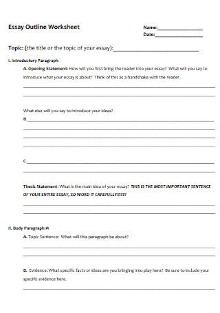 Essay Outline Worksheet Template